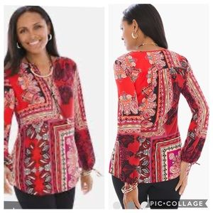 Red Patched Paisley Chicos Peasant Tie Sleeve Top